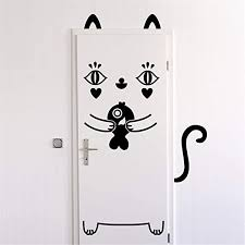 Amazon Com Wall Decal Sticker Art Mural Home Decor Quote Little Cat Door And His Little Fish For Nursery Kids Room Door Sign Wall Sticker Home Kitchen