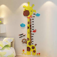 Cute Cartoon Giraffe Height Measure Wall Stickers For Kids Rooms Large Size Removable 3d Acrylic Height Ruler Kids Wall Sticker Wall Stickers Aliexpress