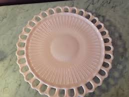 pink milk glass cake stand server with
