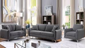 jozel fabric sofa set dark grey