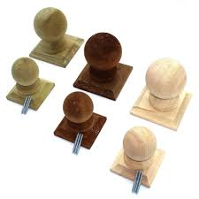 Wooden Fence Post Balls Collar Finials On Base Treated Untreated Ball Ebay