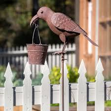 Metal Rustic Crow Bird Feeder