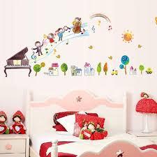 Piano Note Music Wall Stickers Waist Lines Wallpaper Baseboard Kids Ba Home Decor