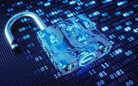 تحميل خلفيات 3d النيون الأزرق قفل أمن الكمبيوتر التكنولوجيا