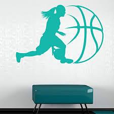 Lady Basketball Wall Decal Wall Sticker Vinyl Wall Art Home Decor Wall Mural Sa3047 16in X 10in Sage Walmart Com Walmart Com