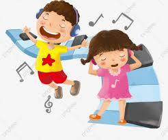 Niño Escuchando Música Niño Feliz Ilustración De Dibujos Animados ...