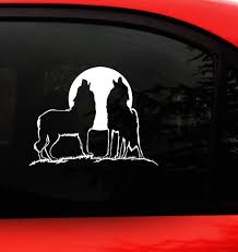 Amazon Com Howling Wolf Decal Sticker White X Large 9 5 X 7 2 Inches Wolves Howling At The Moon Indoor Outdoor Vinyl For Car Window Truck Wall Laptop Wall Art Automotive