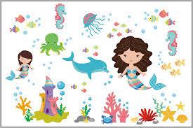 Mermaid And Marine Life Nursery Decals Under The Sea Theme Nurserydecals4you