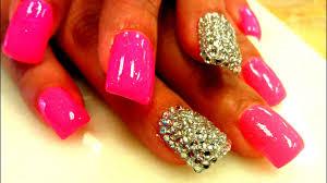 rhinestones acrylic nail designs