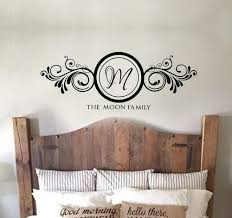 The Family Name With Large Monogram Letter In Swirls Art Wall Decal Stickers