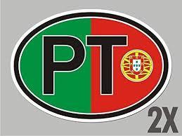 2 Portugal Portuguese Pt Oval Stickers Flag Decal Bumper Car Bike Embl Car Chrome Decals