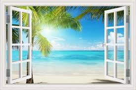 Creative 3d Sunshine Beach View False Faux Window Frame Window Mural Vinyl Bedroom Wall Decals Stickers Wall Stickers Aliexpress