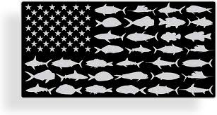 Amazon Com Black Gray Usa Fish Flag Sticker Reel Sticky Fishing Window Bumper Vinyl Decal Boat Boating Everything Else
