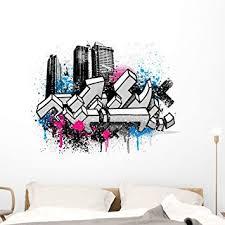 Amazon Com Wallmonkeys City Graffiti Wall Decal Peel And Stick Graphic 48 In W X 38 In H Wm157412 Furniture Decor