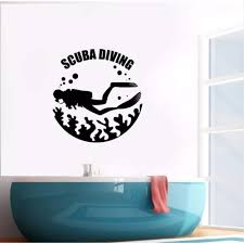 Amazon Com Iofjs Vinyl Wall Decal Scuba Diving Wall Poster Ocean Life Sea Club Decoration Sea Diver Vinyl Wall Art Mural Diving Logo Decal Size 42 44cm Kitchen Dining