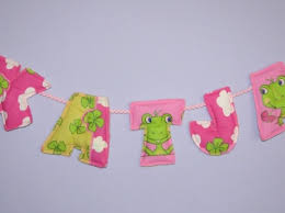 Set Of 5 Custom Made Fabric Letter Wall Hanging Letters Baby Name Kids Room Decor Banner Handmade And Made To Order Meylah