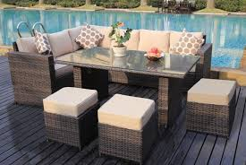 9 seater rattan dining set garden