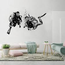 28 Designs Scuba Diving Logo Wall Sticker Divers Skull Vinyl Decal Home Room Art Extreme Sports Decor Mural Buy At The Price Of 12 59 In Aliexpress Com Imall Com