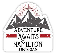 Hamilton Michigan Souvenir 4 Inch Vinyl Decal Sticker Adventure Awaits Design Walmart Com Walmart Com