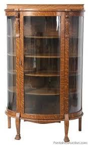 lion carved oak china cabinet lot 390