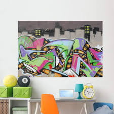 Amazon Com Wallmonkeys Wm43401 Graffiti Wall City Wall Decal Peel And Stick Graphic 72 In W X 48 In H Home Kitchen