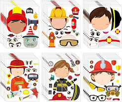 Amazon Com Mallmall6 36pcs Firefighter Sticker Make A Face Stickers Fireman Birthday Party Supplies Baby Shower Party Favors Party Decorations Room Decor Fire Chief Sticker Diy Crafts Games For Kids Boys Girls Kitchen
