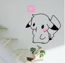 50 40cm Cute Pokemon Pikachu Mural Decals Decor Home Removable Diy Wall Sticker Pokemon Wall Decals Art Wall Kids Kawaii Room