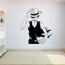 Amazon Com Wall Decal Sticker One Piece Luffy Vinyl Wall Decal Anime Home Decor Bedroom Kids Art Mural Removable Wall Stickers Home Kitchen