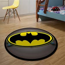 Round Carpet Batman Superman Printed Soft Anti Slip Rugs Superhero Mat Kids Room Ebay