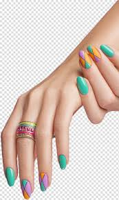 Woman Wearing Beaded Pink And Green Ring Nail Polish Manicure