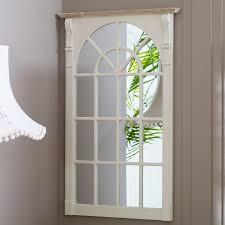 large cream window style wall mirror