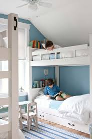 27 Kids Bedrooms Ideas That Ll Let Them Explore Their Creativity White Kids Room White Bunk Beds Blue Rooms