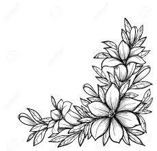 Rama Hermoso Blanco Y Negro Con Flores Dibujadas En Estilo Retro