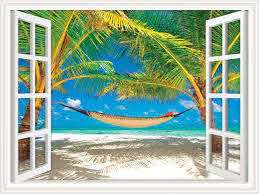 Amazon Com Walls 360 Peel Stick Wall Decal Window Views Hammock Between Palm Trees On Beach 36 In X 27 In Window Views Kitchen Dining