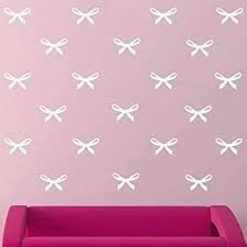 Amazon Com Melissalove 48pcs Pink Ribbons Wall Stickers For Kids Room Princess Girl Bedroom Pink Bow Wall Decals Removable Vinyl Diy Mural Stickers A407 White Home Kitchen