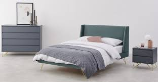 elona double bed marine green velvet