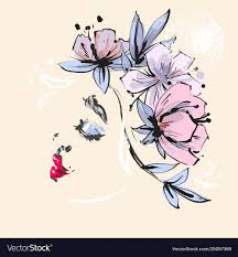 pink flowers spring vector image