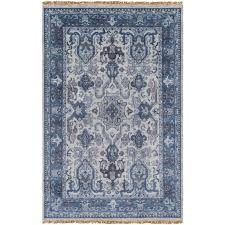 hand knotted wool navy area rug