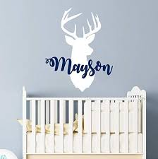 Amazon Com Personalized Boy Name With Deer Antlers Wall Decal Nursery Baby Name Hunting Themed Woodland Wall Decor Rustic Nursery Wall Decor Deer Head Wall Vinyl Sticker Custom Name Wall Decals For Boys