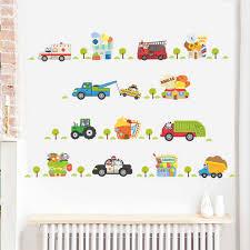 Cartoon Vehicle Traffic Transport Cars Trucks Wall Decals Bedroom Nursery Home Decor Pvc Wall Stickers Mural Boys Gifts Wall Stickers Aliexpress