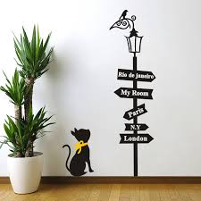 Cat Road Sign Street Light Wall Stickers For Kids Room Living Room Home Decor Art Decal Peel Sticker Vinyl Diy Mural Removable Wall Stickers Aliexpress