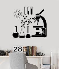 Wall Vinyl Decal Microscope Science Scientist Chemistry School Stickers Unique Gift Ig3079 Science Decor Science Bedroom Vinyl Wall Decals