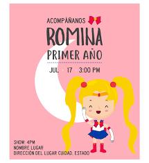 Invitacion Cumpleanos Serena Diseno Digital Personalizable
