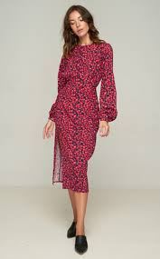 rue stiic bach midi dress poppy red
