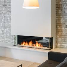 contemporary linear gas fireplace