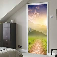 Sky Mountains Scene Door Sticker Home Decoration Door Decal For Bedroom Shop Office Gate Stickers Buy At The Price Of 20 16 In Aliexpress Com Imall Com
