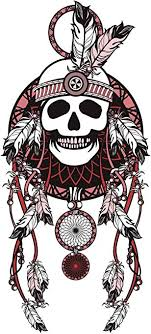 Amazon Com Red And Black Skull Feathered Dream Catcher Vinyl Decal Sticker 4 Tall Automotive