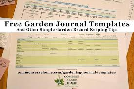 free gardening journal templates and