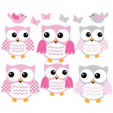 Pink And Gray Owl Wall Decals With Love Bird Wall Decals For Kids Rooms