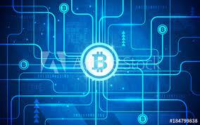 abstract circuit board bitcoin
